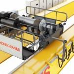 UNITON, overhead cranes, heavy duty cranes, process duty, 2x2 reeving, pipe load beam, 90 degree wheel blocks